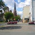CZĘSTOCHOWA - Śródmieście - ul.Kopernika - po lewej stronie 2 kościoły - prawosławny (z kopułą) oraz ewangelicki, po prawo budynek Telekomunikacji Polskiej #Częstochowa #śródmieście #kościół #ewangelicki #prawosławny #Kopernika